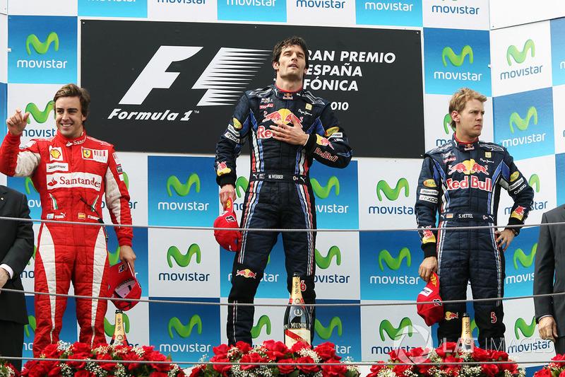 Podio: Mark Webber, Red Bull Racing, ganador de la carrera; Fernando Alonso, Ferrari, segundo, tercer puesto Sebastian Vettel, Red Bull Racing