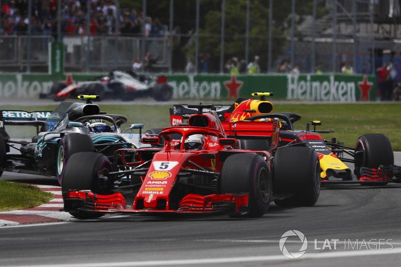 Sebastian Vettel di depan Valtteri Bottas dan Max Verstappen
