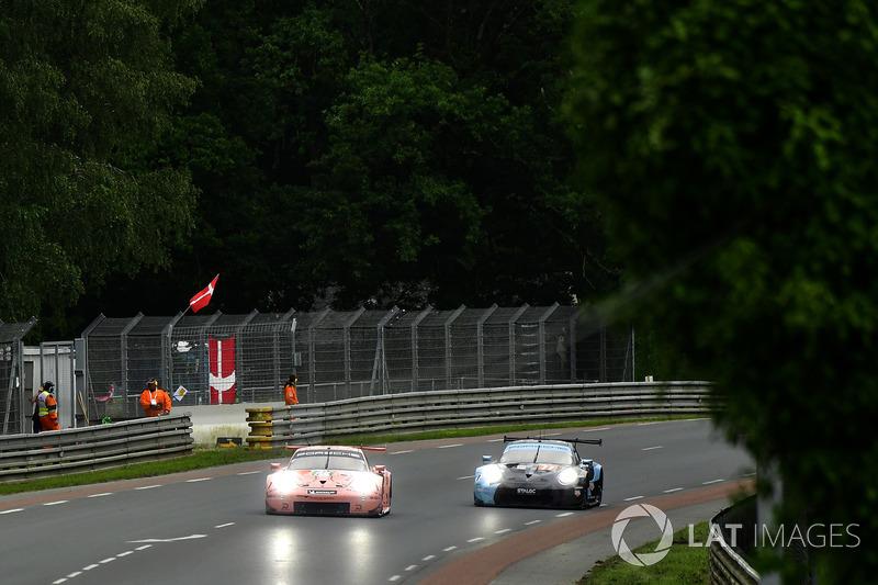 #92 Porsche GT Team Porsche 911 RSR: Michael Christensen, Kevin Estre, Laurens Vanthoor, #77 Proton Competition Porsche 911 RSR: Christian Ried, Julien Andlauer, Matt Campbell