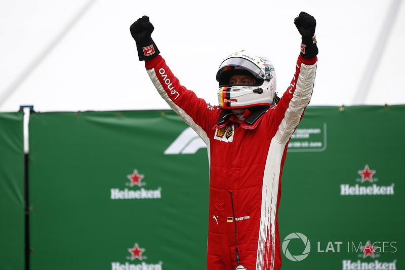 Sebastian Vettel, Ferrari, 1st position, celebrates victory in Parc Ferme