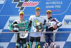 Winnaar Joan Mir, Leopard Racing, tweede plaats Livio Loi, Leopard Racing, derde plaats Jorge Martin, Del Conca Gresini Racing Moto3