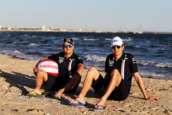 Esteban Ocon, Force India, Sergio Perez, Force India at the beach