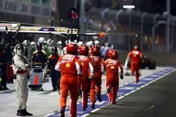 Ferrari pit crew rush to the aid of Felipe Massa, Ferrari F2008