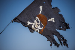 A Pirate flag outside the stadium