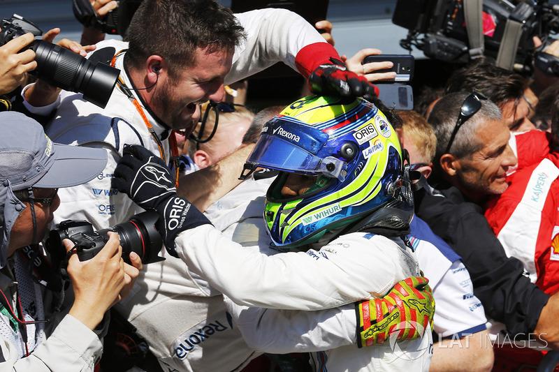 Felipe Massa, Williams F1, third place, celebrates in Parc Ferme