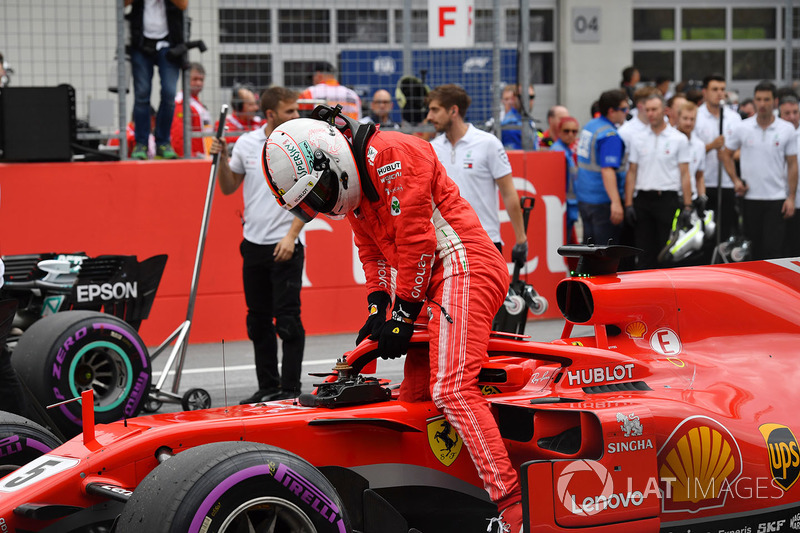 Third place Sebastian Vettel, Ferrari SF71H in parc ferme