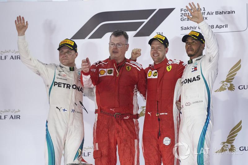 Valtteri Bottas, Mercedes AMG F1, 2nd position, The Ferrari Constructors Trophy delegate, Sebastian