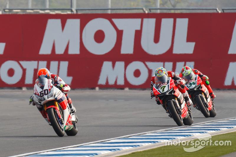 Michael van der Mark, Honda WSBK Team, Chaz Davies, Aruba.it Racing - Ducati Team et Davide Giugliano, Aruba.it Racing - Ducati Team