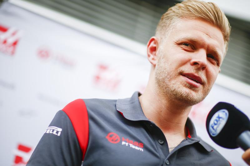 Kevin Magnussen, Haas F1 Team, speaks to media