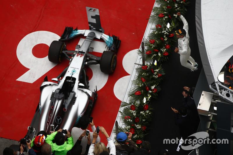 Lewis Hamilton, Mercedes AMG, celebrates on the podium