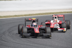 Alexander Albon, ART Grand Prix leading Charles Leclerc, PREMA Powerteam
