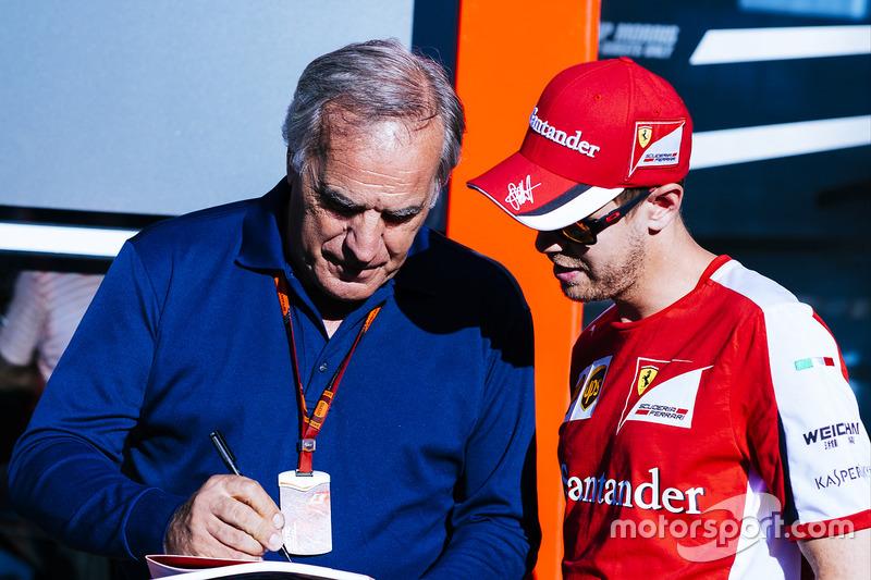 Giorgio Piola y Sebastian Vettel, Ferrari