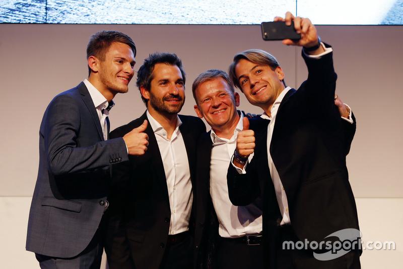 Marco Wittmann; Timo Glock; Stefan Reinhold, Team director BMW Team RMG y Augusto Farfus