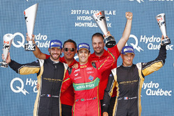 WinnerLucas di Grassi, ABT Schaeffler Audi Sport, celebrates on the podium with Jean-Eric Vergne, Techeetah, and Stéphane Sarrazin, Techeetah