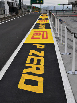 Pirelli branding in pit lane