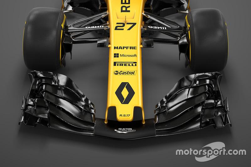 Een blik op de stompe neus van de Renault RS17