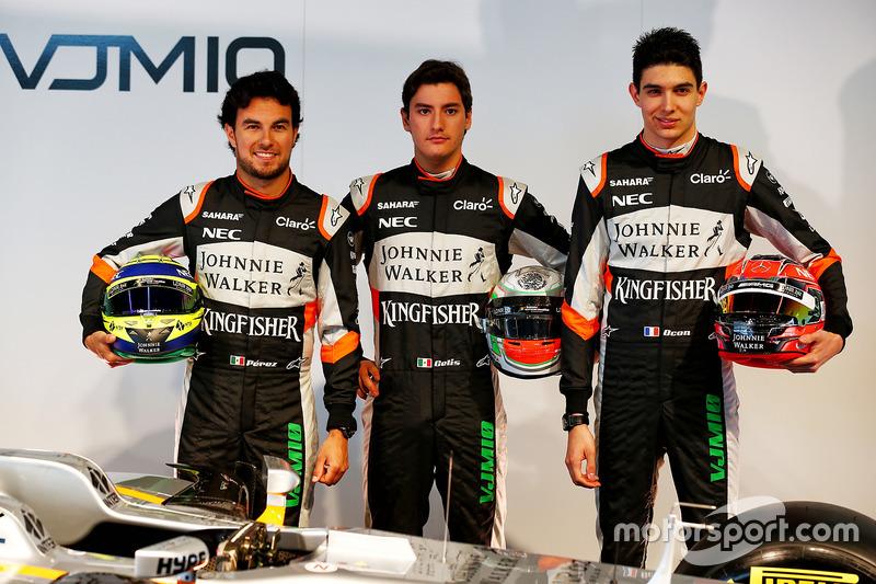 Sergio Perez, Alfonso Celis Jr., Esteban Ocon und der Force India VJM10