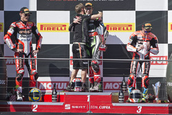 Podium: race winner Jonathan Rea, Kawasaki Racing, second place Chaz Davies, Ducati Team, third place Marco Melandri, Ducati Team