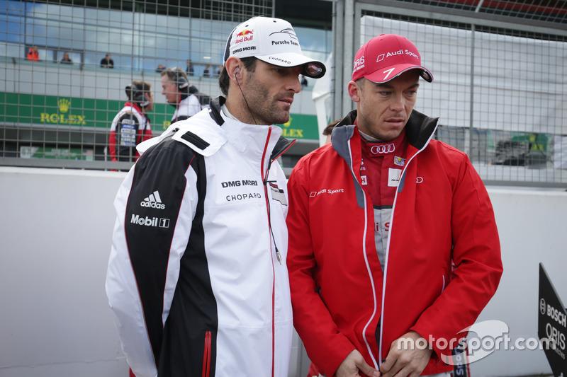 (L to R): Mark Webber, #01 Porsche Team Porsche 919 Hybrid with Andre Lotterer, #07 Audi Sport Team Joest Audi R18
