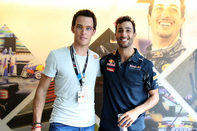 Daniel Ricciardo, Red Bull Racing meets with Belgian rally driver, Thierry Neuville