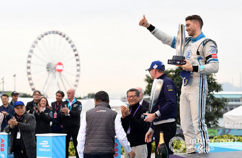Edoardo Mortara, Venturi Formula E celebrates 2nd position on the podium