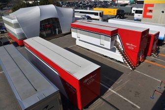Alfa Romeo Racing trucks in the Paddock