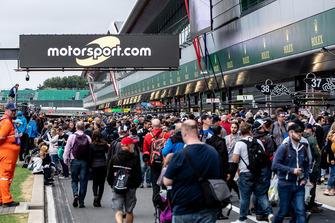 Les fans dans les stands, avec le logo Motorsport.com
