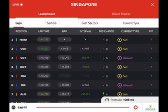 F1 live timing screenshots