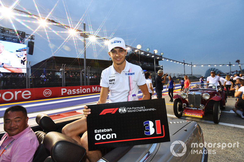 Esteban Ocon, Racing Point Force India F1 Team en el desfile de pilotos