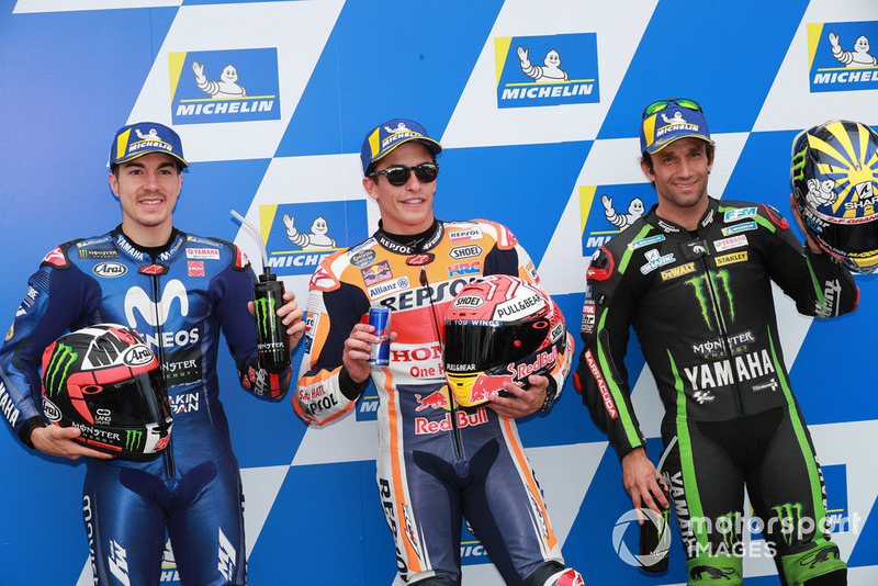 Polesitter Marc Marquez, Repsol Honda Team, secondo Maverick Viñales, Yamaha Factory Racing, terzo Johann Zarco, Monster Yamaha Tech 3