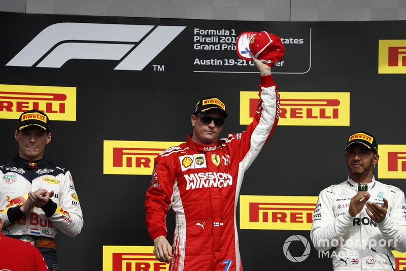 Podio: 1º Raikkonen, 2º Versatappen, 3º Hamilton