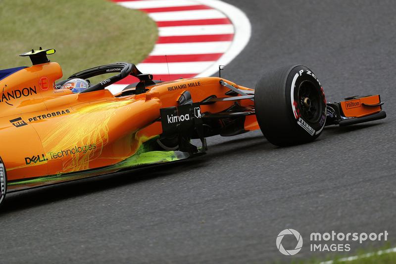 Lando Norris, McLaren MCL33, avec de la peinture aéro