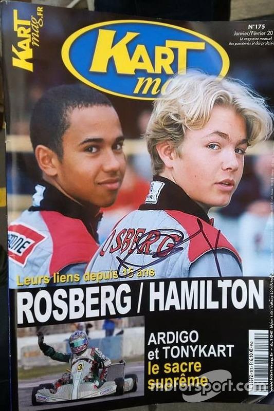 Portada de la revista Kartmag con Nico Rosberg y Lewis Hamilton foto de la página oficial de Nico Rosberg en Facebook