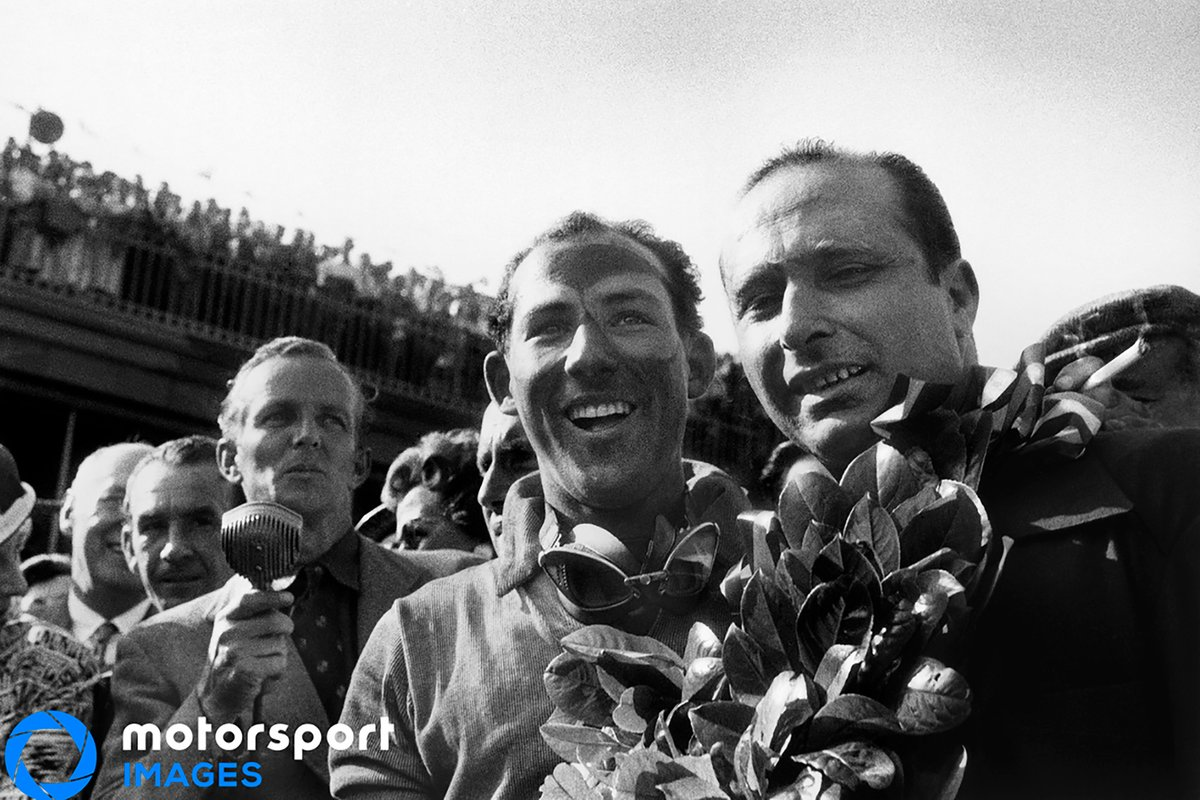 1955 British GP, Stirling Moss e Juan Manuel Fangio, Mercedes-Benz