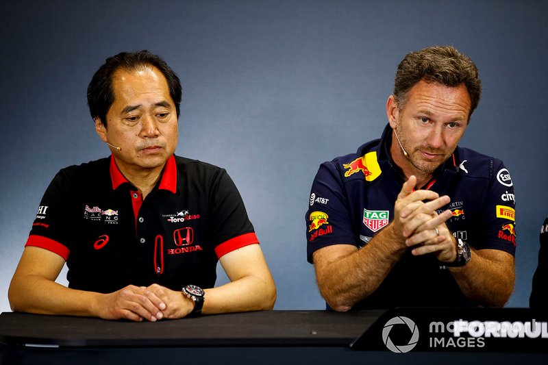 Toyoharu Tanabe, F1 Technical Director, Honda, and Christian Horner, Team Principal, Red Bull Racing, in the team principals Press Conference
