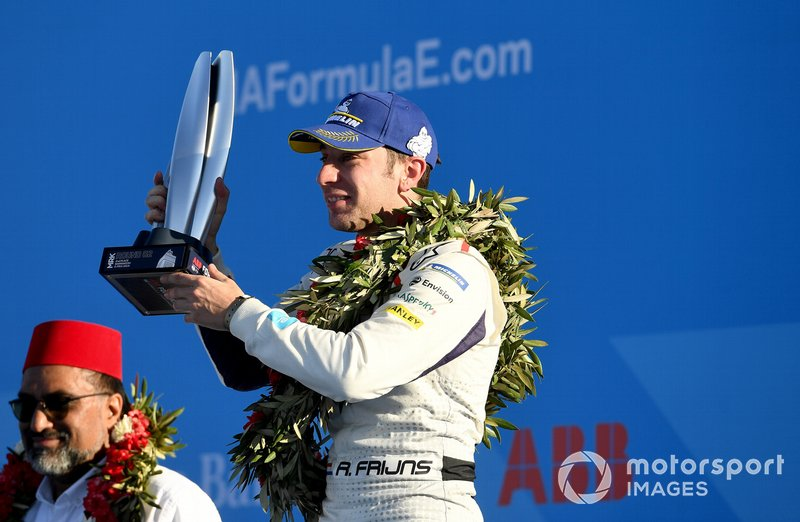 Robin Frijns, Envision Virgin Racing, 2nd position, celebrates on the podium with his trophy