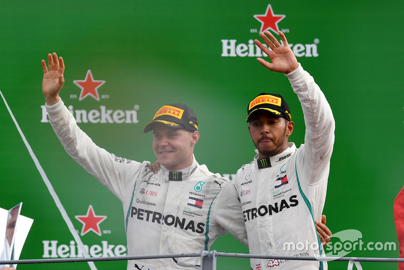 Race winner Lewis Hamilton, Mercedes AMG F1, third place Valtteri Bottas, Mercedes AMG F1
