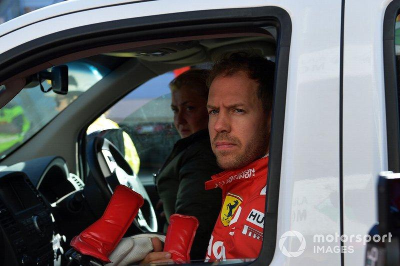 Sebastian Vettel, Ferrari, tras su accidente