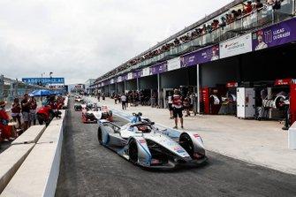 Edoardo Mortara, Venturi Formula E, Venturi VFE05, leaves the pits after the red flag period