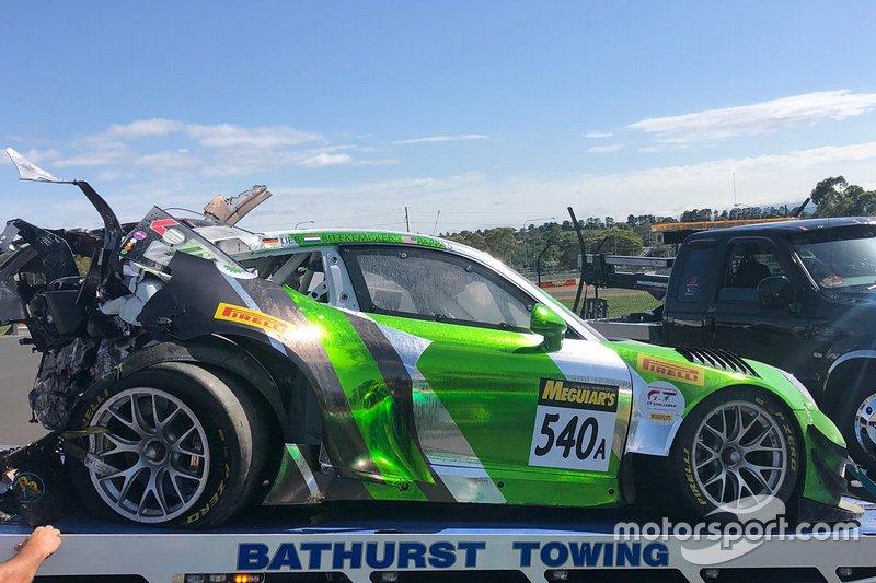 #540 Black Swan Racing Porsche 911 GT3-R: Tim Pappas, Jeroen Bleekemolen, Marc Lieb after the crash