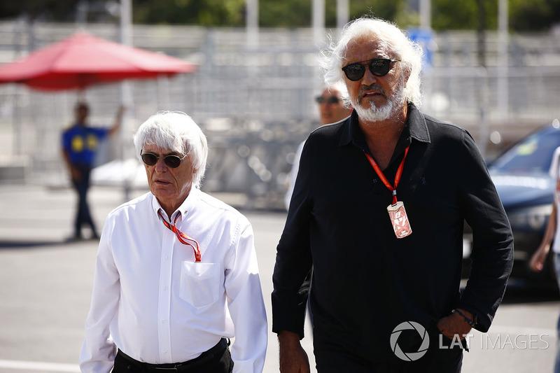 بيرني إكليستون، الرئيس الفخري للفورمولا واحد وفلافيو برياتوري