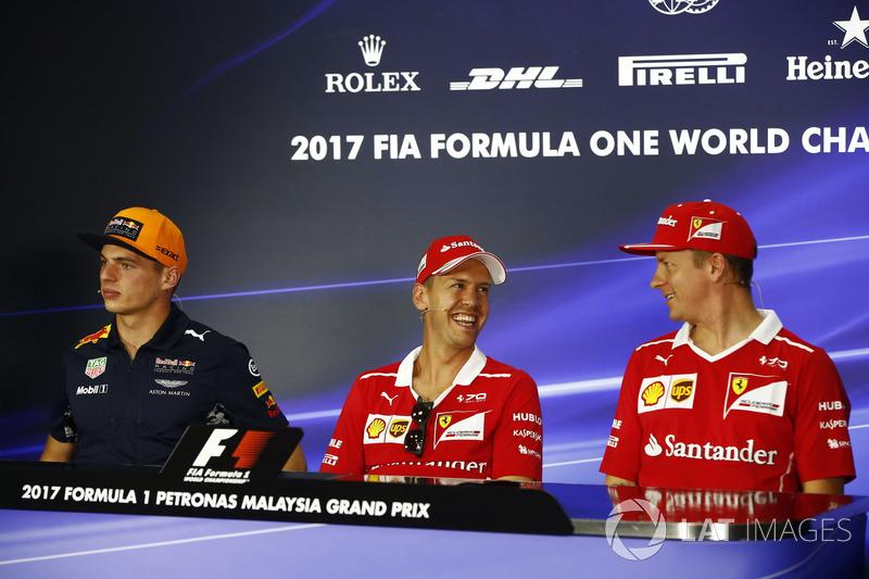 Max Verstappen, Red Bull Racing, Sebastian Vettel, Ferrari, Kimi Raikkonen, Ferrari, in the FIA press conference