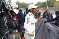 Lewis Hamilton, Mercedes AMG F1, celebrates after taking his 69th F1 Pole Position