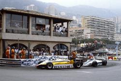 Alain Prost, Renault RE30B, leads Riccardo Patrese, Brabham BT49D-Ford