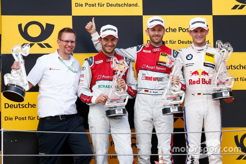 Подіум: переможець Рене Раст, Audi Sport Team Rosberg, Audi RS 5 DTM, друге місце Майк Роккенфеллер, Audi Sport Team Phoenix, Audi RS 5 DTM, третє місце Марко Віттманн, BMW Team RMG, BMW M4 DTM