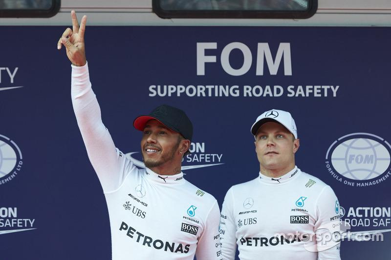 1. Lewis Hamilton, Mercedes AMG; 3. Valtteri Bottas, Mercedes AMG