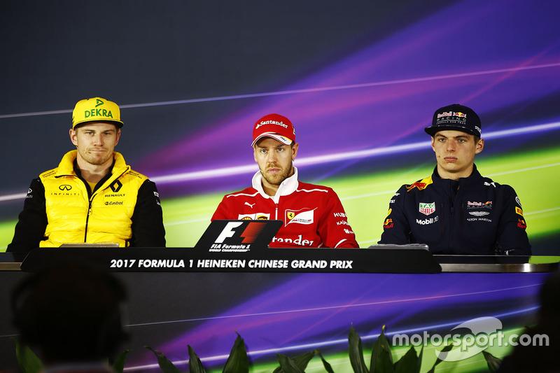 Nico Hulkenberg, Renault Sport F1 Team, Sebastian Vettel, Ferrari, Max Verstappen, Red Bull