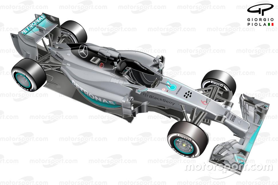 Vista a 3/4 del Mercedes W05.