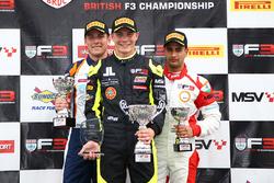 Podium: race winner Linus Lundqvist, Double R, second place Nicolai Kjaergaard, Carlin, third place Kush Maini, Lanan Racing