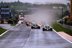 Ayrton Senna, Lotus 97T leads at the start
